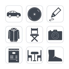 Premium fill icons set on white background . Such as furniture, technology, table, chair, compact, equipment, pen, car, business, fashion, disc, tool, sound, shirt, photography, move, sign, disk, boot