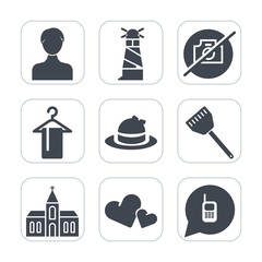 Premium fill icons set on white background . Such as background, love, nautical, no, fashion, religion, ringing, profile, communication, hat, sea, headwear, hanger, sign, web, church, lighthouse, user