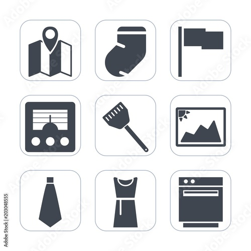 Premium fill icons set on white background   Such as socks, food