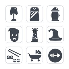 Premium fill icons set on white background . Such as child, table, kid, department, fish, pram, water, white, hipster, kitchen, circus, salt, modern, seafood, light, home, fire, food, beacon, graphic