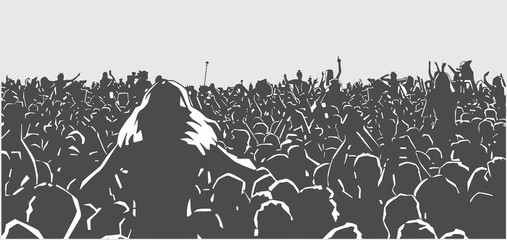 Illustration of large crowd of people at live event in black and white