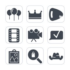 Premium fill icons set on white background . Such as instrument, electric, queen, light, clothing, crown, string, birthday, music, video, image, projection, sound, presentation, guitar, clothes, chat