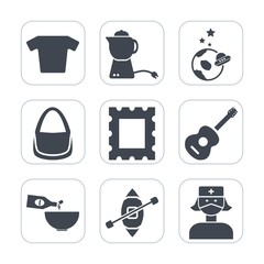 Premium fill icons set on white background . Such as music, astronaut, food, space, pot, guitar, planet, clothes, shuttle, exploration, drink, health, ship, border, frame, t-shirt, medical, science