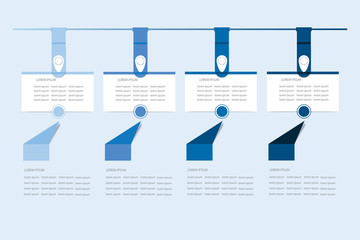 Set of six infographic hanging rectangular labels in the shadows of blue color.