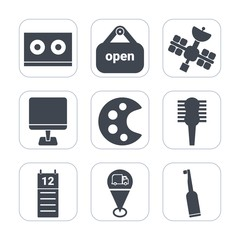 Premium fill icons set on white background . Such as business, dental, agenda, technology, sign, drawing, map, beauty, laptop, door, art, care, wireless, calendar, open, toothbrush, electric, artist