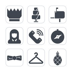 Premium fill icons set on white background . Such as phone, box, chocolate, north, button, bow, pineapple, fruit, sign, hanger, cloakroom, compass, food, post, face, sweet, queen, call, cookie, bakery