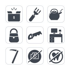 Premium fill icons set on white background . Such as food, healthy, camera, construction, fashion, dentist, cardboard, desk, transportation, tool, kettle, fork, office, container, business, white, tea