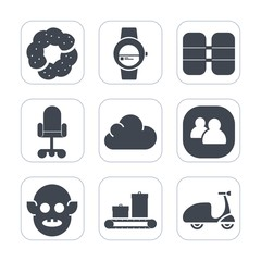 Premium fill icons set on white background . Such as social, muffin, business, luggage, touch, people, sweet, bag, fiction, gadget, chocolate, bakery, office, smart, bike, team, oxygen, technology