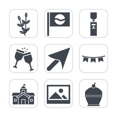 Premium fill icons set on white background . Such as sign, grain, asia, frame, art, celebration, holiday, happy, water, wheat, picture, culture, bread, flag, japan, city, sweet, cake, agriculture, red
