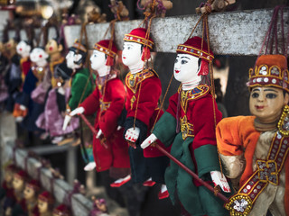Myanmar Puppet dolls Traditional Handicraft local souvenir shop art and craft