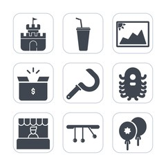 Premium fill icons set on white background . Such as juice, paper, store, pack, frame, supermarket, fiction, picture, alien, food, harvesting, sign, photo, cup, birthday, grocery, celebration, sickle