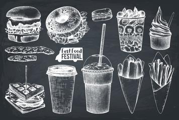 Street food festival menu. Vintage sketch collection. Fast food set. Engraved style template. Vector packaging design on chalkboard