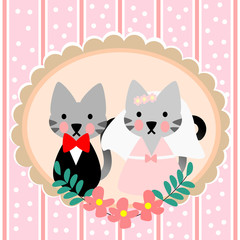 Cute couple cat for wedding theme background