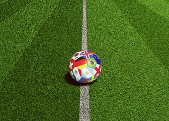 Fußball mit Welt Flaggen liegt bereit zum Anstoss
