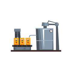 Conveyor line for packaging juice, production process stage vector Illustration on a white background