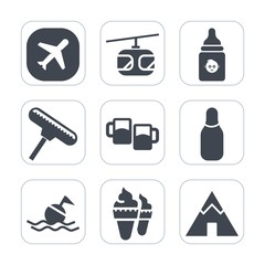 Premium fill icons set on white background . Such as sweet, transportation, food, cream, help, travel, ball, plane, dessert, pub, bar, alcohol, sky, electric, ice, beer, buoy, bowling, bottle, air