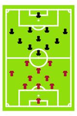 Fußballfeld mit taktischer Aufstellung
