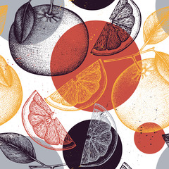 Vector seamless pattern with ink hand drawn citrus fruit, flowers, slice and leaves sketch. Vintage background with grapefruit plants.