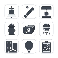 Premium fill icons set on white background . Such as field, parachuting, house, file, equipment, bell, extreme, baseball, reminder, parachute, sign, picture, coffee, cup, alarm, ball, fire, sport, sky