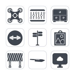 Premium fill icons set on white background . Such as photo, traffic, business, knife, picture, music, concept, drawer, gym, white, furniture, wireless, volume, copter, background, kitchen, fitness