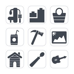 Premium fill icons set on white background . Such as dinner, spoon, gym, fashion, background, tool, drink, teddy, weight, glass, guitar, object, style, picture, house, exercise, play, spanner, wrench