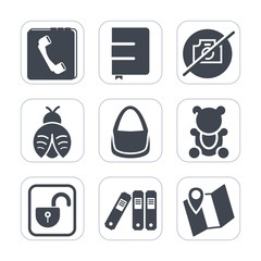 Premium fill icons set on white background . Such as file, folder, picture, lock, object, cute, insect, bear, toy, unlock, protection, open, lady, book, map, fashion, fluffy, dragon, phone, contact