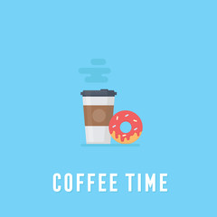 Coffee in plastic cup and donut, breakfast food, coffee time