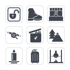 Premium fill icons set on white background . Such as lock, military, unlock, flame, tree, weapon, science, security, shop, footwear, market, environment, light, decoration, boot, grocery, forest, open