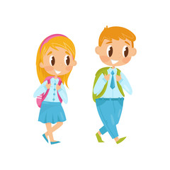 Little boy and girl walking on study. First school day. Kids in formal clothes with backpacks on shoulders. Flat vector design