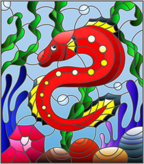 Illustration in stained glass style with abstract colorful exotic red fish amid seaweed, coral and shells