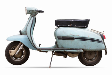 Foto op Plexiglas Scooter old motor cycle scooter on white background clipping path
