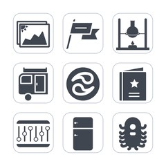 Premium fill icons set on white background . Such as trailer, test, refrigerator, alien, experiment, state, medicine, photography, white, fridge, space, journey, science, wind, mon, vacation, monster
