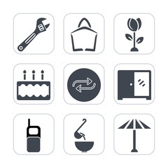Premium fill icons set on white background . Such as pie, communication, tool, floral, old, japanese, japan, replace, flower, culture, dessert, meal, phone, hammer, substitute, equipment, screwdriver