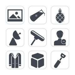Premium fill icons set on white background . Such as diet, background, art, exotic, atom, coat, retro, square, signal, science, antique, user, roller, profile, pineapple, picture, avatar, style, paint