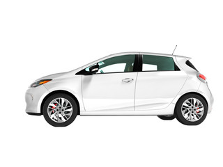 Modern electric car hatchback for travels for young family white on the left 3d render on white background no shadow