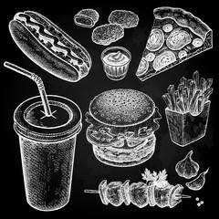 Fast food set. Vintage graphics.