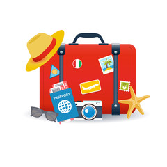 Vector illustration of red vintage suitcase with with different travel elements and stickers isolated on white background. Travel concept.