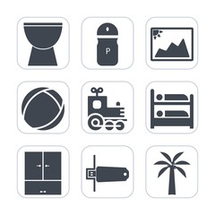Premium fill icons set on white background . Such as locomotive, picture, music, paper, sphere, concert, transportation, toy, memory, drum, percussion, vehicle, frame, food, photography, spice, flash