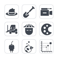 Premium fill icons set on white background . Such as young, energy, film, truck, technology, video, clothing, baseball, equipment, astronaut, construction, head, data, science, delivery, spaceship