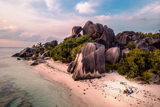 Happy couple on vacation La Digue Seychelles