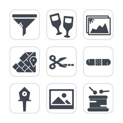 Premium fill icons set on white background . Such as glass, photo, travel, birdhouse, red, medical, background, dust, bottle, medicine, map, drink, air, clean, alcohol, change, picture, world, tool