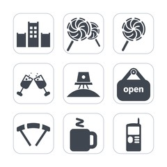Premium fill icons set on white background . Such as lollipop, white, shop, science, dessert, parachute, extreme, vintage, telephone, parachuting, bar, store, space, sign, wine, service, cell, phone