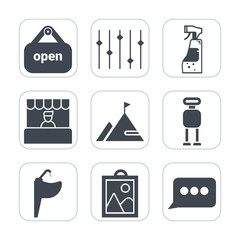 Premium fill icons set on white background . Such as speech, customer, food, supermarket, water, tap, image, door, picture, white, cyborg, buy, element, mountain, chat, grocery, sign, rock, business