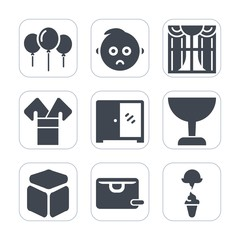 Premium fill icons set on white background . Such as birthday, cube, party, kimono, kid, curtain, portrait, sale, child, baby, sad, balloon, square, costume, cabinet, face, bag, , window, little, home