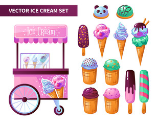 Ice Cream Cart Products Set