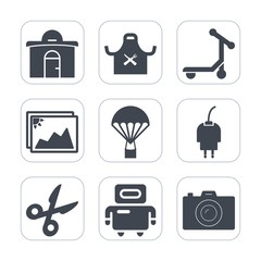 Premium fill icons set on white background . Such as speed, image, building, concept, photography, energy, futuristic, parachute, android, picture, restaurant, kitchen, city, charger, frame, cut, tool