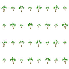 Coconut palm tree pattern textile material tropical forest background. Floral vector swatch repeating pattern. Cute tropical plants, coconut trees, beach palms textile background design.