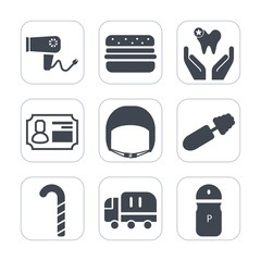 Premium fill icons set on white background . Such as black, beauty, candy, makeup, hamburger, hairdresser, dentist, fashion, car, blow, business, dental, style, id, hairstyle, seasoning, healthy, care
