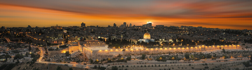 Acrylic Prints Middle East jerusalem city by sunset