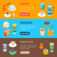 Tea and Coffee Banner Horizontal Set 3d Isometric View. Vector